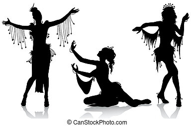 Belly dancers - Vector silhouettes of beautiful belly...