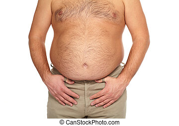 belly., grand, gros homme