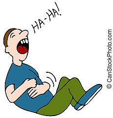 Belly Laugh - An image of a laugh hysterically while hold...
