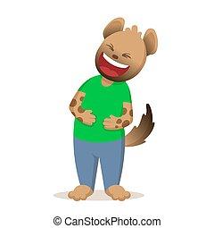 belly., mains, sien, illustration, rire, isolé, vecteur, arrière-plan., dessin animé, hyène, rigolote, plat, blanc
