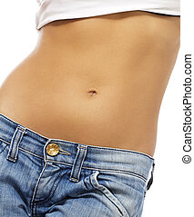 belly of a beautiful woman on white background