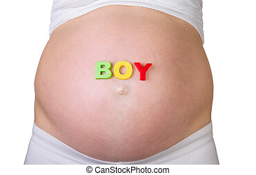 Belly of pregnant woman with word BOY