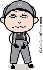 bellyache, -, trabalhador, ilustração, vetorial, retro, repairman, caricatura