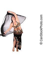 bellydance woman in black shawl dance