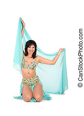 bellydance woman with the shawl hands up