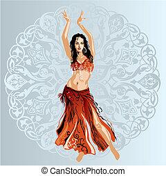Bellydancer - Dancer on arabic ornament background, editable...