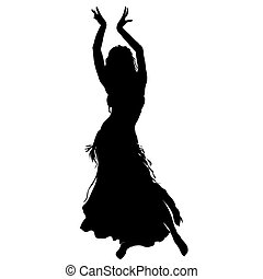 Bellydancer Silhouette - Silhouette of Dancer on white...