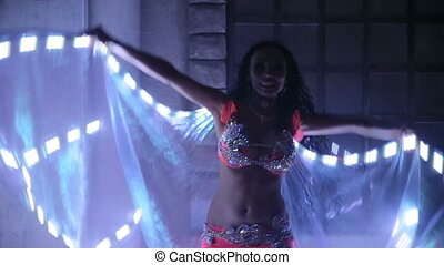 Bellydancer with led light butterfly.