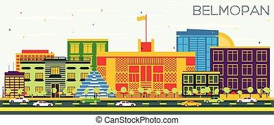 Belmopan Skyline with Color Buildings and Blue Sky.