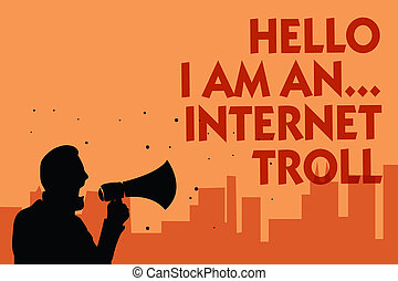 beloften, troll., foto, meldingsbord, besprekingen, media, problemen, achtergrond., argumenten, vasthouden, internet, conceptueel, megafoon, het spreken, ..., het tonen, sinaasappel, man, politicus, tekst, sociaal, vervaardiging, hallo