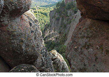 Belogradchik rock - look from one rock cleft, Bulgaria, Europe