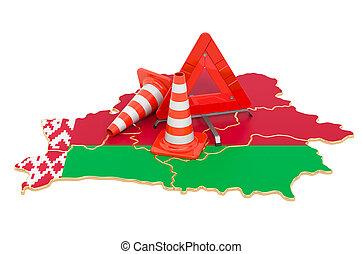 belorussian, 3d, mapa, conos, advertencia, tráfico, triángulo, interpretación
