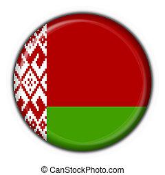 belorussian, bandera, redondo, botón, forma