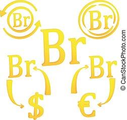 belorussian, belarus, rouble, 3d, símbolo, icono, moneda