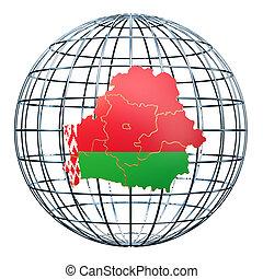 Belorussian map on the Earth Globe. 3D rendering