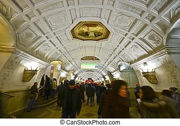 Belorusskaya metro station, Moscow - MOSCOW - MAR 7:...