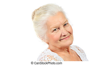 beloved grandmother - Happy senior woman smiling at the...