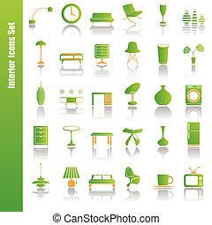 belső, állhatatos, zöld, ikonok