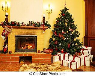 belső, épület, díszes, kandalló, karácsony