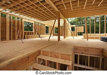 belső, épület, koholás, új