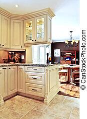 belső, étkező, modern hely, konyha