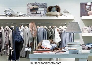 belső, öltözet, kiskereskedelem készlet