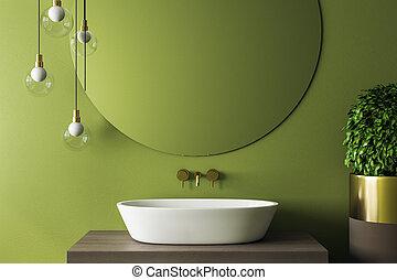 belső, új, fürdőszoba, zöld