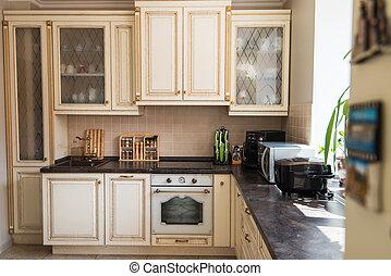 belső, új, modern, konyha