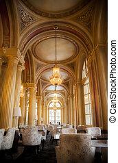belső, arany-, oszlop, étterem