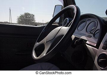 belső, autó,  modern, Ügy, kilátás