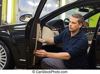 belső, autó, munkás, takarítás, lemos