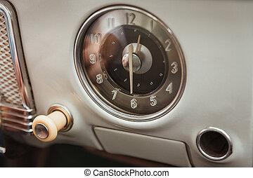 belső, autó, részletez, klasszikus