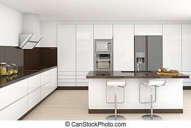 belső, barna, fehér, konyha