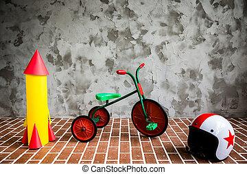 belső, bicikli, grunge, retro