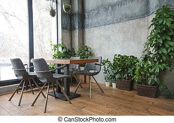 belső decor, kávéház, zöld