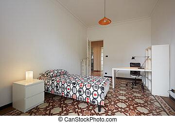 belső, egyedülálló, ágy, hálószoba