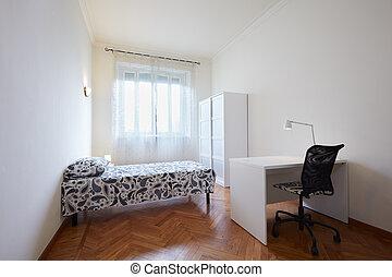 belső, egyedülálló, hálószoba, ágy, íróasztal