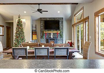 belső, eleven, lakberendezési tárgyak, szoba, karácsony