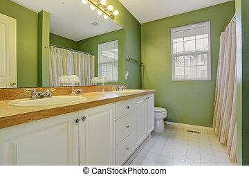 belső, fényes, zöld, fürdőszoba