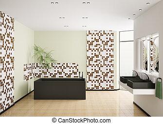 belső, fürdőszoba, modern, render, 3