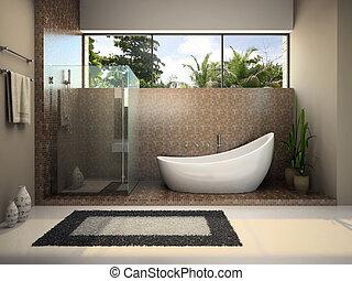 belső, fürdőszoba, modern