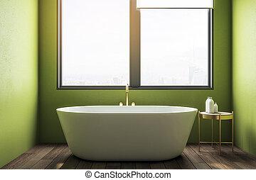 belső, fürdőszoba, modern, zöld