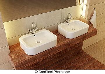 belső, fürdőszoba, szoba
