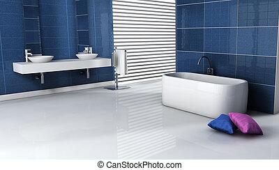 belső, fürdőszoba, tervezés, kortárs