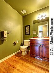 belső, fürdőszoba, zöld
