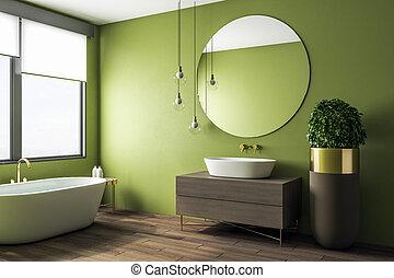 belső, fürdőszoba, zöld, kitakarít