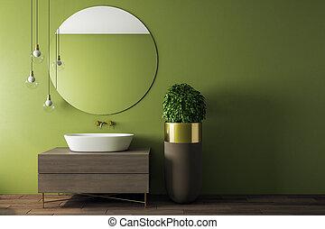 belső, fürdőszoba, zöld, kortárs