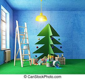 belső, fa, lemezelt fatábla, karácsony