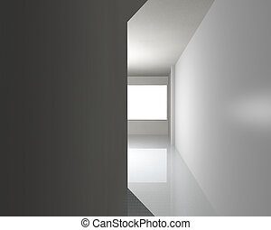 belső, fehér, folyosó, üres