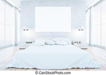 belső, fehér, hálószoba